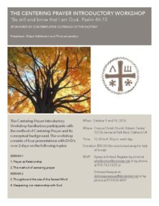Centering Prayer Introductory Workshop 10.09.16